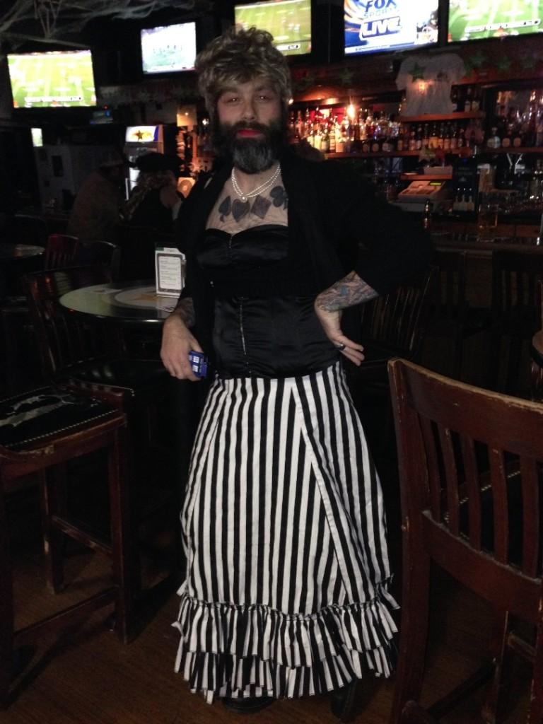 Winner of The Best Costume Award: Brandy's elaborate circus sideshow bearded lady costume - Halloween 2013